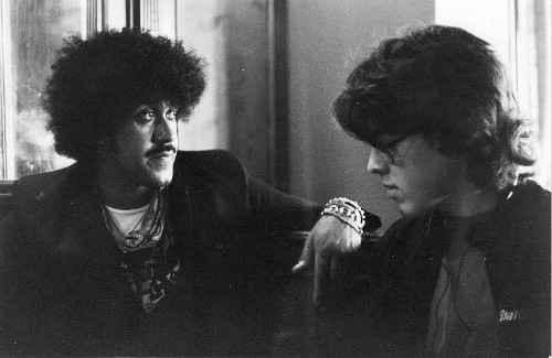 Phil Lynott och Jorgen Holmstedt Stockholm 1983 Foto Soren Lindberg