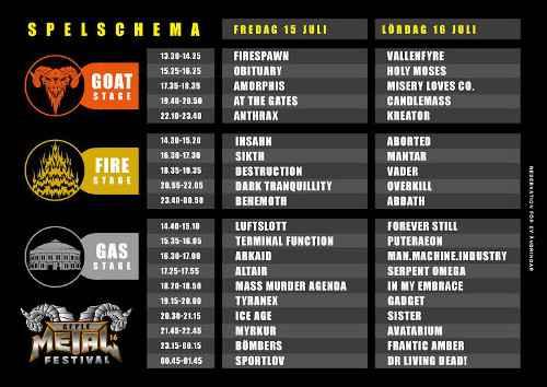 sweden rock spelschema 2016