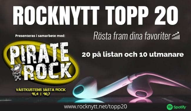 Rocknytt Topp 20 på Pirate Rock